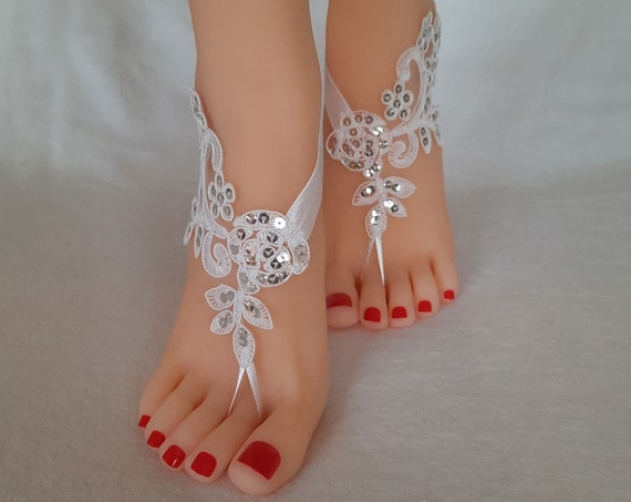 Beach wedding Lace white or ivory   silver sequins finished barefoot sandals shoe elegant beach wedding Handmade bridal bridesmaid party