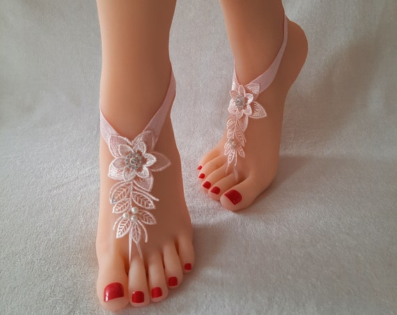 pink  wedding shoe barefoot sandles wedding prom party steampunk bangle beach anklets bangles bridal bride bridesmaid pearl barefoot sandals