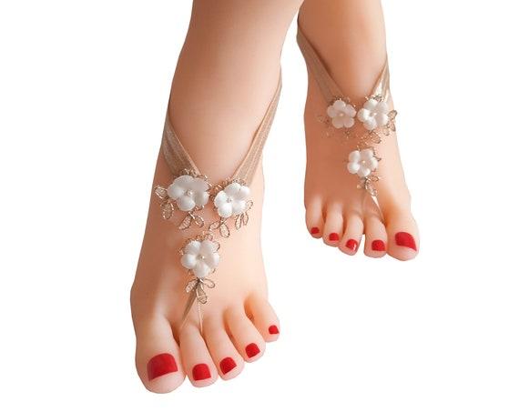 Rustic Beige,  lace barefoot sandal, minimalist  rustic wedding,  tan nude beach barefoot sandals, rustic wedding sand,  country wedding