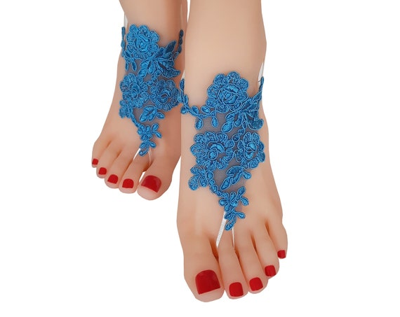 Blue barefoot sandals,  lace anklet, something blue, wedding shoes, beach wedding, beach shoes, bridesmaid gift, cobalt blue, bride bangle