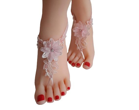 crystalline shining blush pinkish  ivory lace barefoot, anklet, Beach wedding barefoot sandals, bangle, wedding anklet, anklet, bridal,