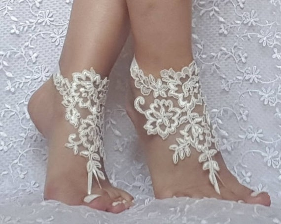 0c5b1fe7b  25.00 ivory Beach bridal barefoot sandal wedding shoe prom party bridal  barefeett sandals beach anklets