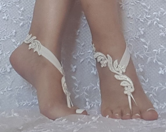 88c042589a5ae  25.00 Bridal barefoot sandals ivory floral beach sandal barefoot lace shoe  beach wedding