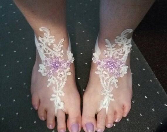 c912ca343c98 ... bridal anklet ivory or white lilac beads Beach wedding barefoot sandals  summerfeets syringa mauve lavender