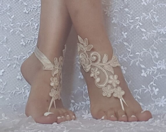 3aab1817869dd ... ivory or Champagne beach wedding lace barefoot sandals