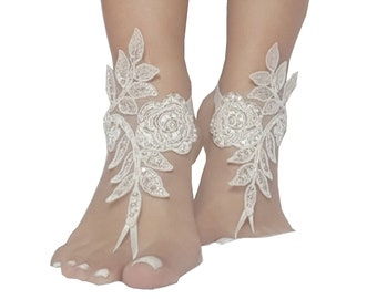 d920742c2c8bd 24 color Bridal barefoot sandals beach wedding barefoot sandal footwear  footgear lace barefoot shoes bridal shoes white ivory champagne