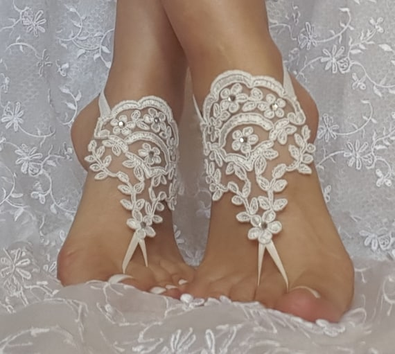 ivory lace rhinestone  boho beach barefoot sandals wedding prom party steampunk bangle beach anklets bangles