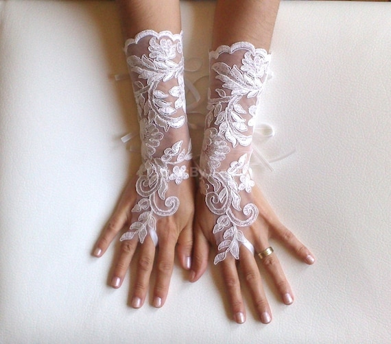 Long Ivory Wedding gloves bridal gloves lace gloves fingerless gloves ivory gloves french lace gloves