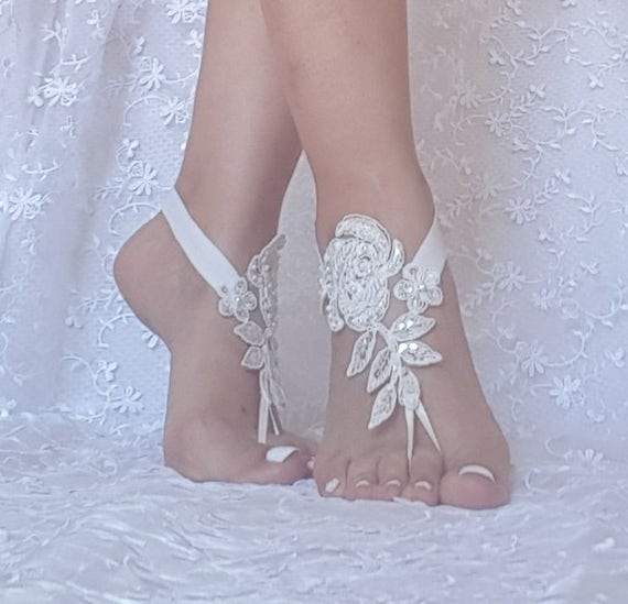ivory beach wedding barefoot sandals, embroidered with pearls lace sandals, bridal lace anklet sandals,  lace barefoot sandals, beach bridal