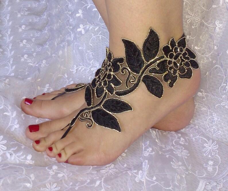 473e7a07e97 Black gold beach shoes Unique design lariat sandals wedding