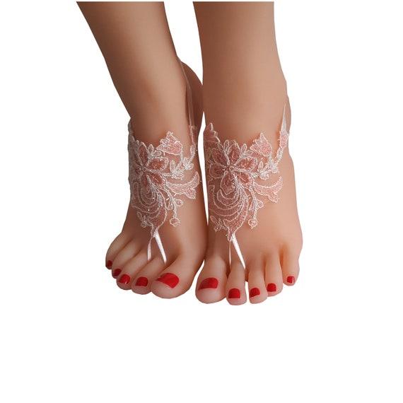 crystalline shining blush pinkish  ivory lace barefoot, anklet, Beach wedding  sandals, bangle, wedding anklet, blush accessory wedding