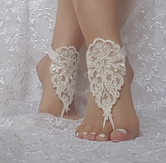 ivory Beach wedding barefoot sandals