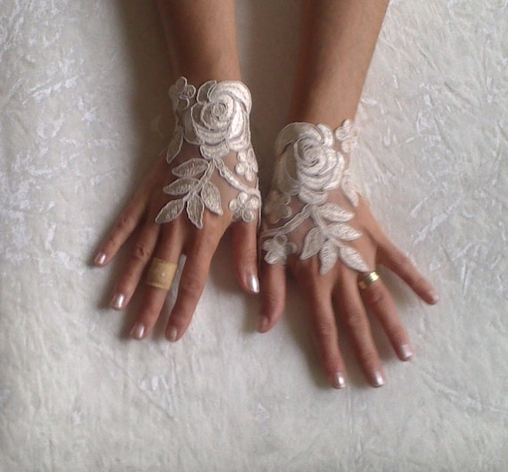 cappuccino Wedding gloves free ship happiness rose  bridal gloves  fingerless lace  gloves Unique design french lace gloves free ship