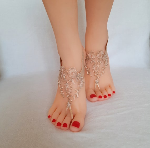 Beige bronze gold  lace barefoot sandal  rustic wedding tan nude beach barefoot sandals beach shoes rustic wedding country wedding bridal