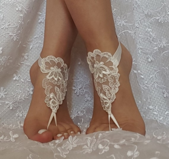 ivory  wedding barefoot sandles wedding prom party steampunk bangle beach anklets bangles bridal bride bridesmaid