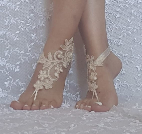 ivory or Champagne beach wedding lace barefoot sandals, bridesmaid gift, bridal shoes, dress accessories,  woman gift, prom, tea party, gift