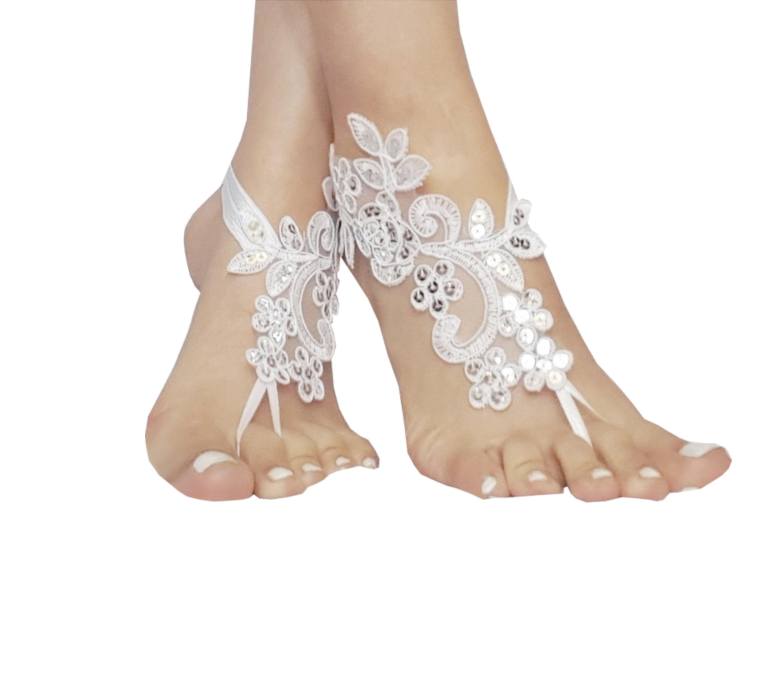 797ae33743 White, or ivory bridal anklet,Beach wedding barefoot sandals ...