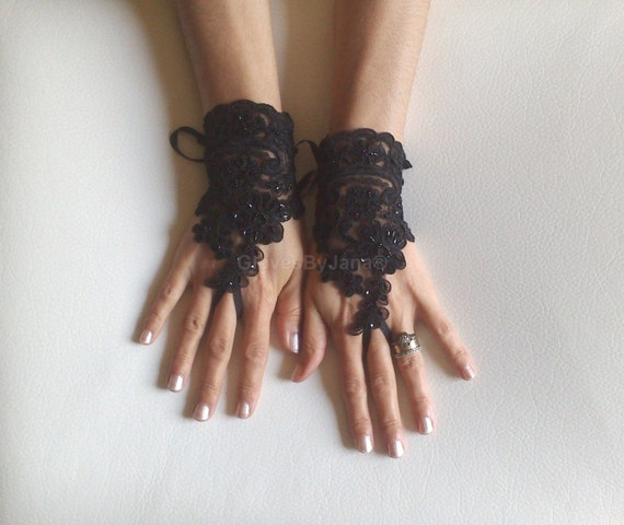 Glove Goth  Gloves, Black  gloves, Fingerless Gloves,