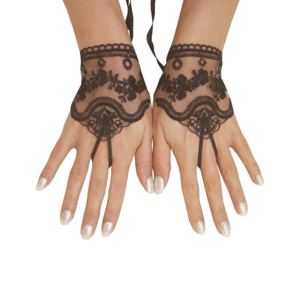 Black or ivory, light beige tulle lace glove embroidery bridal  wedding fingerless burlesque body tattoo romantic bridesmaid glove