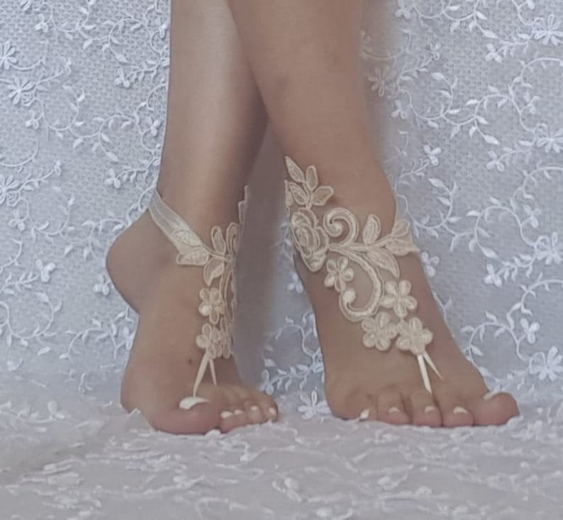 02f1fcffe Ivory or Champagne beach wedding lace barefoot sandals