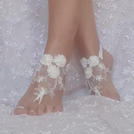 6204f3dcbb96a1 ... ivory Beach wedding barefoot sandals