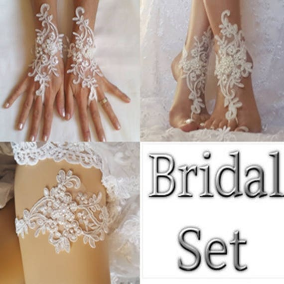 Bridal set ivory garter bridal gloves beach wedding barefoot sandal lace shoe best 2017 wedding