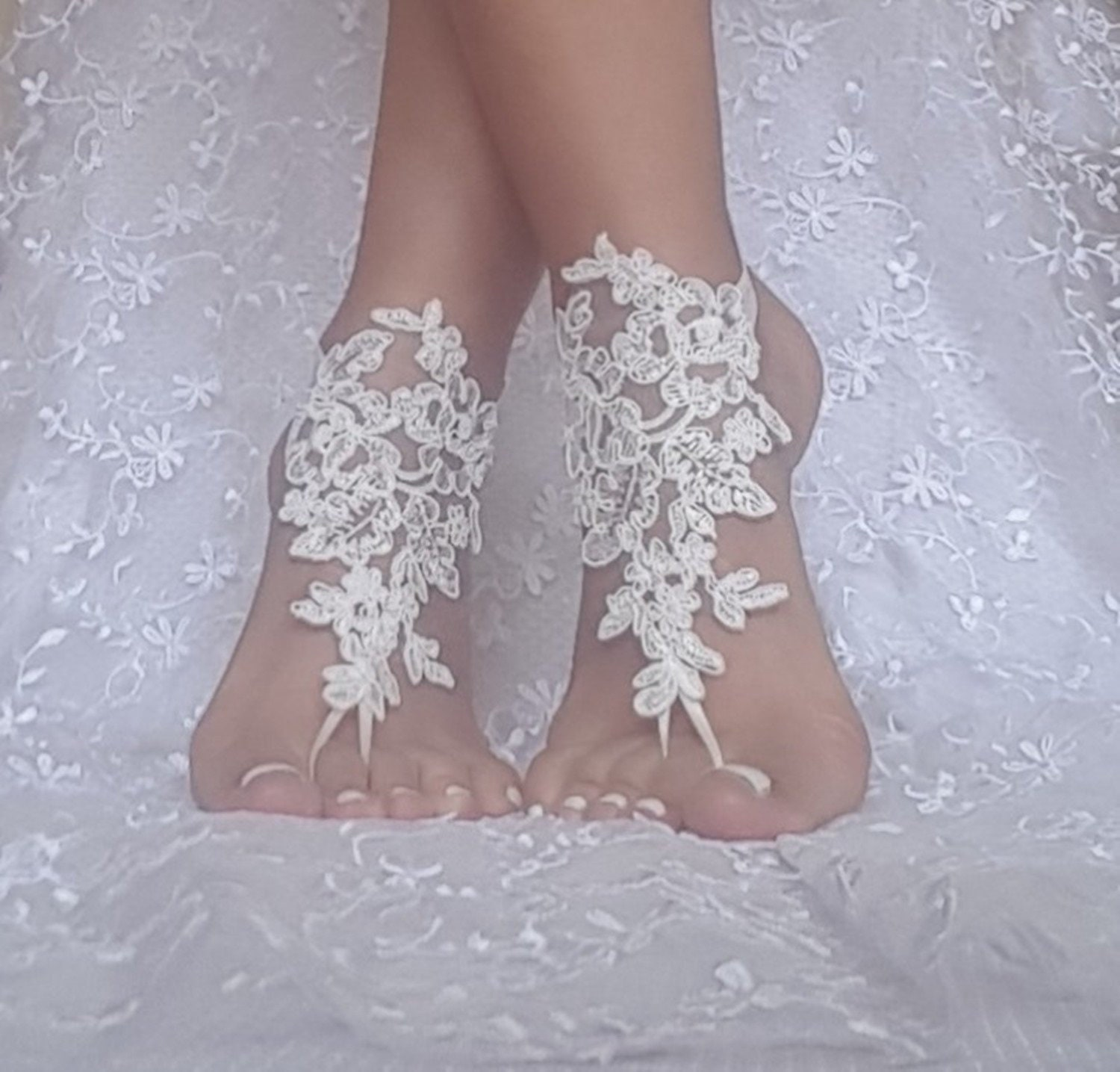 a89c1cffd771c Ivory beach wedding barefoot sandals