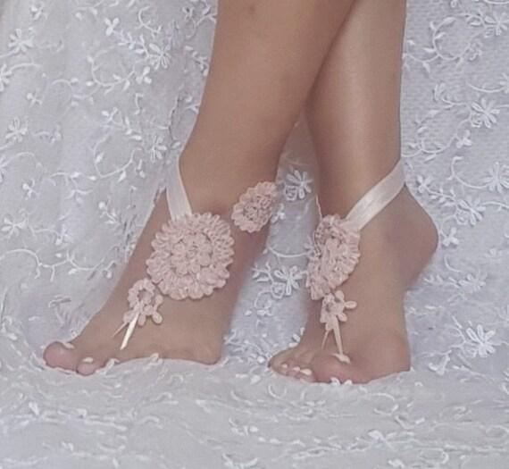 Pink Bridal lace barefoot sandals beach wedding bridemaid gift pink pinkish