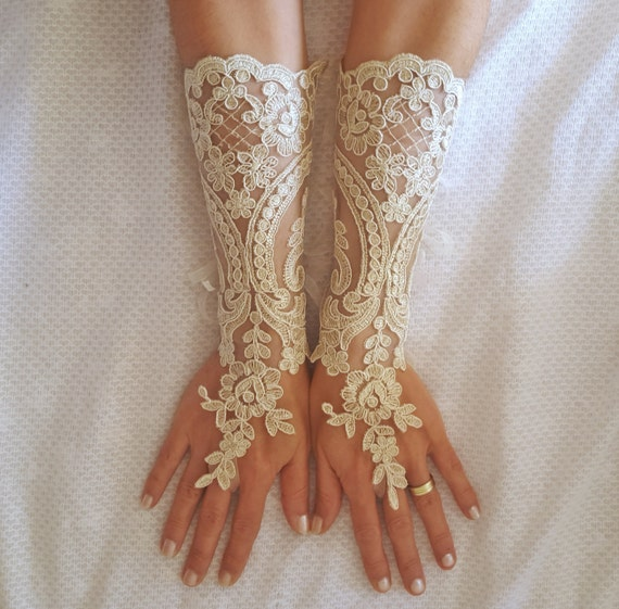 Long ivory or champagne gold   Wedding gloves  bridal fingerless french lace arm warmers cuff gauntlets fingerloop, Long lace glove