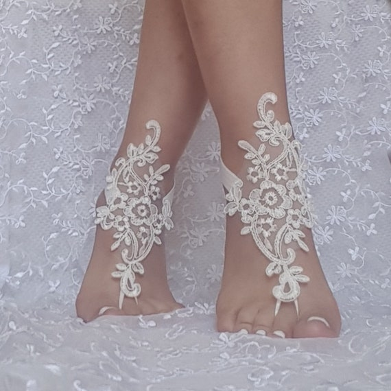 ivory silver cord  wedding barefoot sandles wedding prom party steampunk bangle beach anklets 9668B bridal bride bridesmaid 9668B