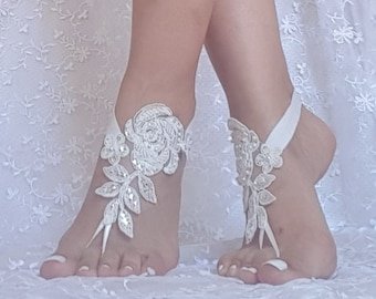 ivory beach wedding barefoot sandals embroidered with pearls lace sandals, bridal lace anklet sandals,  lace barefoot sandals, beach bridal