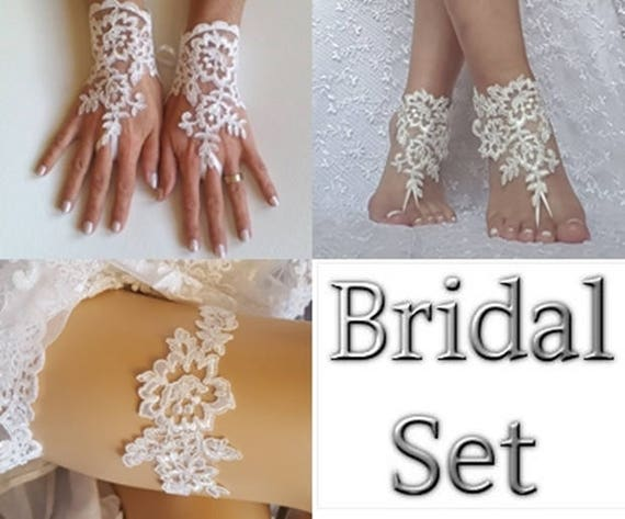 Bridal set ivory garter bridal gloves beach wedding barefoot sandal lace shoe best 2018 wedding summer wedding beach bridal boho