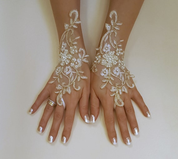 Ivory gold or ivory silver frame wedding gloves bridal gloves lace gloves fingerless gloves ivory gloves  w