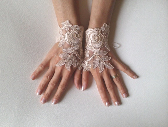 Wedding gloves  Champagne  bridal gloves  fingerless lace  gloves french lace gloves   cuffs for bride