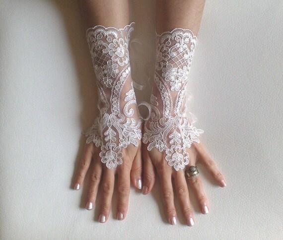 Ivory gloves cream frame  wedding bridal lace  fingerless gauntlets  prom party 221