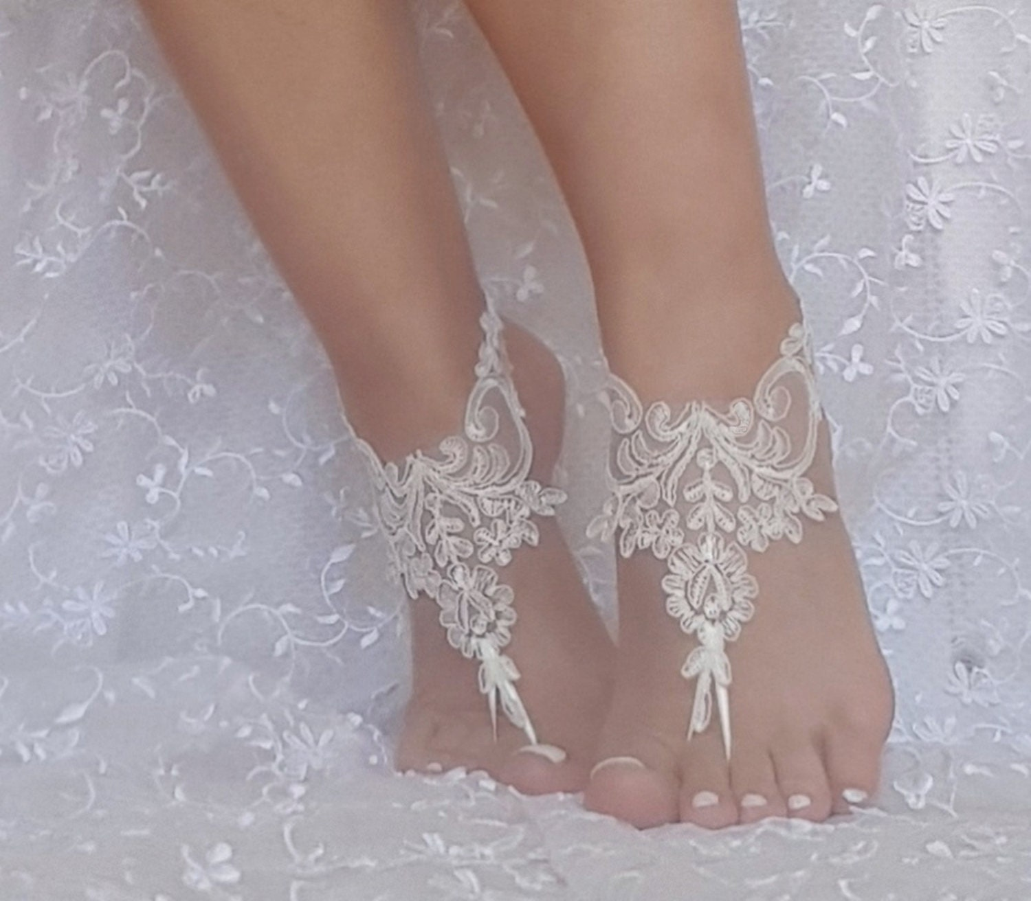 84a634fbcaaca 11 color lace barefoot sandals, bridal barefoot sandals, beach ...