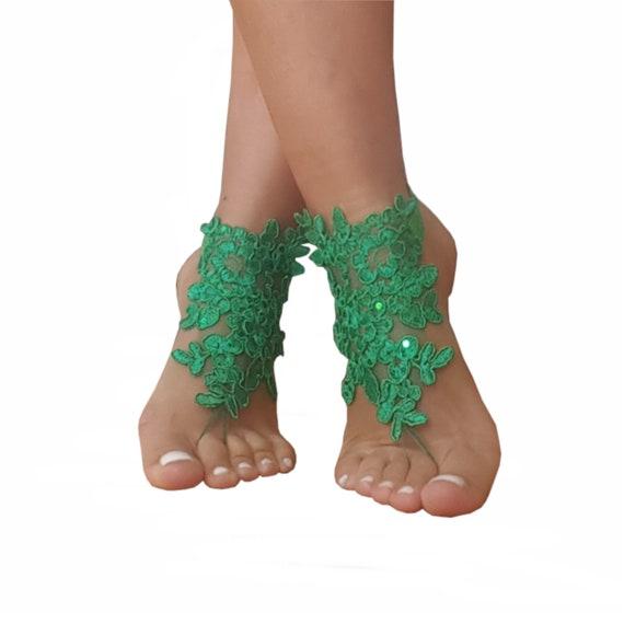 Christmas wedding, christmas gift, beach wedding, bridesmaid gift, green barefoot sandals, green wedding shoe, beach shoe, bridal shoes,