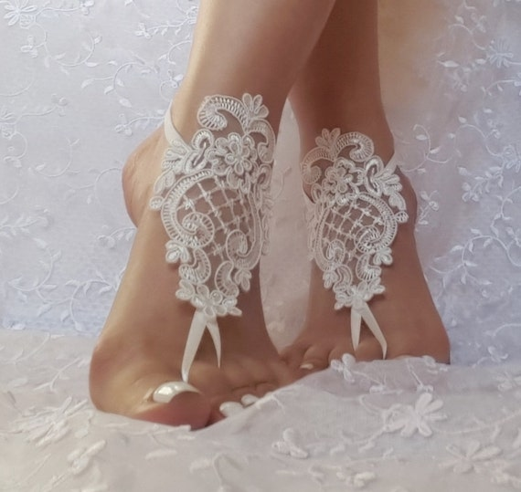 ivory  wedding shoe barefoot sandles wedding prom party steampunk bangle beach anklets bangles bridal bride bridesmaid