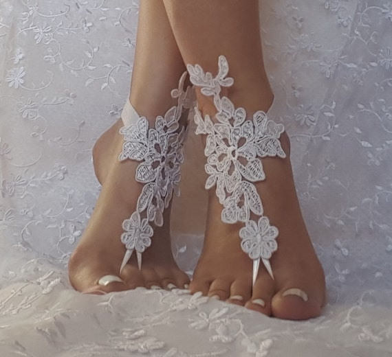 18453e059 White ivory champagne beach wedding barefoot sandals shoe