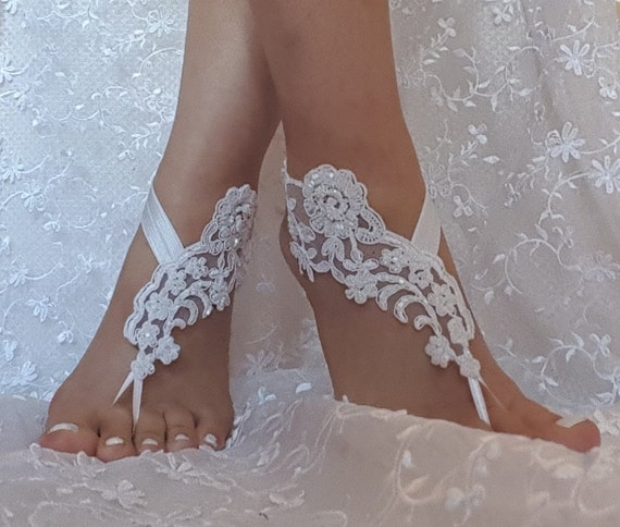 Snow white Beaded wedding sandal bridal shoe beach wedding lace barefoot sandals