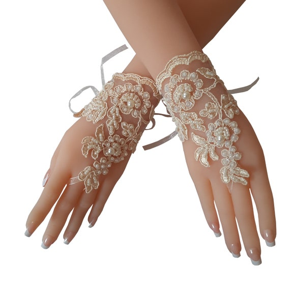 Lace gloves, old gold lace gloves,  pearl beaded bridal gloves,  fingerless lace  gloves, womens gloves lace, engagement gifts