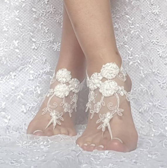 3D flower ivory Beach wedding barefoot sandals Ivory Barefoot shoe beach bridal accessories prom party show boho bohemian wedding