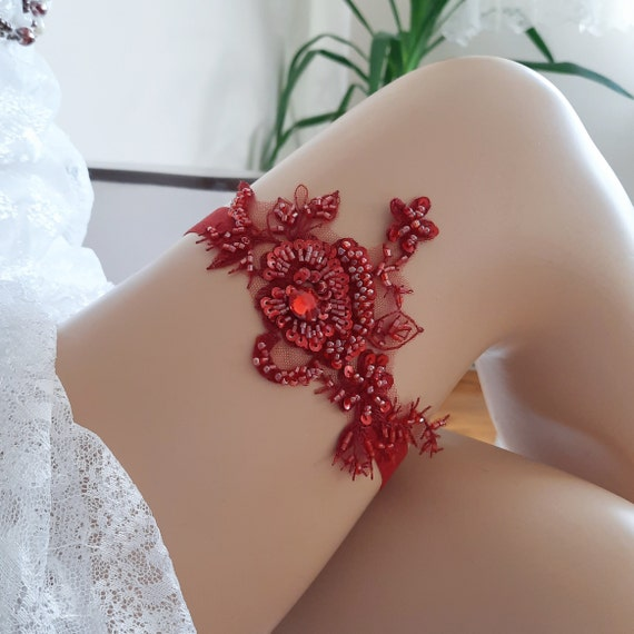 Blood red bridal garter belt, wedding garter,  garter, bridal garter, red garter,  bridal lace garter, rhinestone garter, gothic garter
