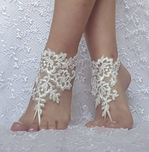 ivory Beach wedding barefoot sandals wedding shoe prom party bridal barefoot sandals beach anklets, bridal accessories