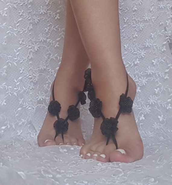 Black wedding barefoot sandals  bridesmaid gift  flower wedding shoe barefoot wedding prom party  bangle beach anklets  bridal bride