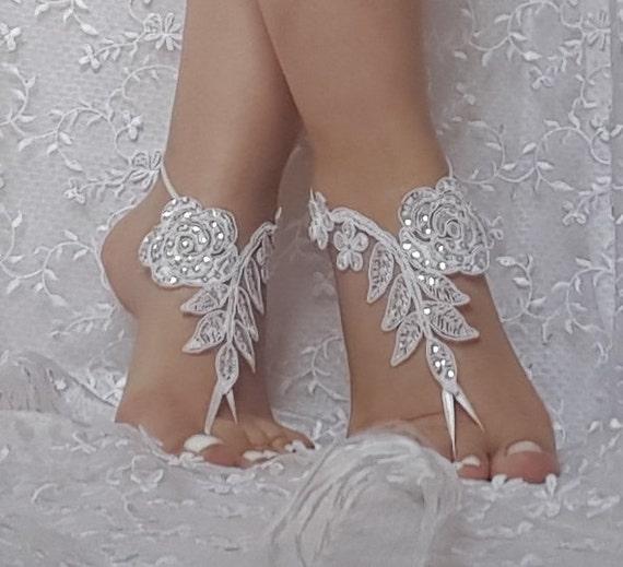 Beach wedding barefoot sandals, bangle, wedding anklet, anklet, bridal, bellydance, gothic bridal anklet, ivory lace sandals,