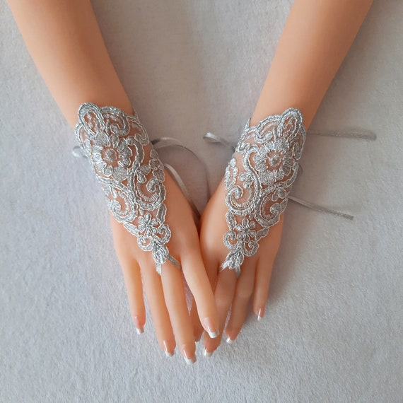Silver Wedding gloves bridal fingerless lace  light gray grey prom party belly dance burlesque steampunk lolita beach party showgirl party