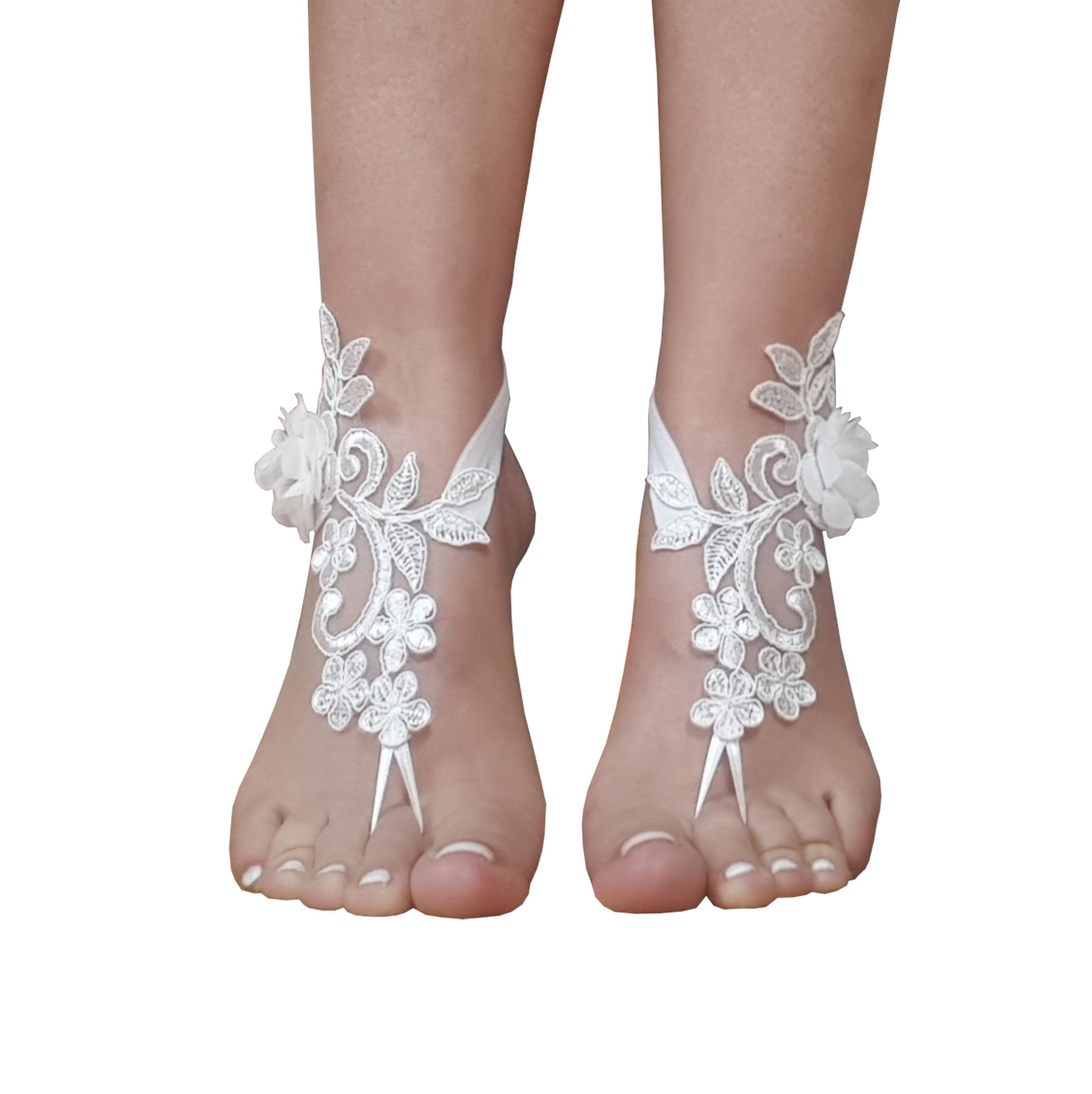 26048bbc1263 Beach wedding barefoot sandals ivory 3d flower pearl wedding barefoot  barefeet beachwear bridal anklet bangle lace barefoot sandal beachbody