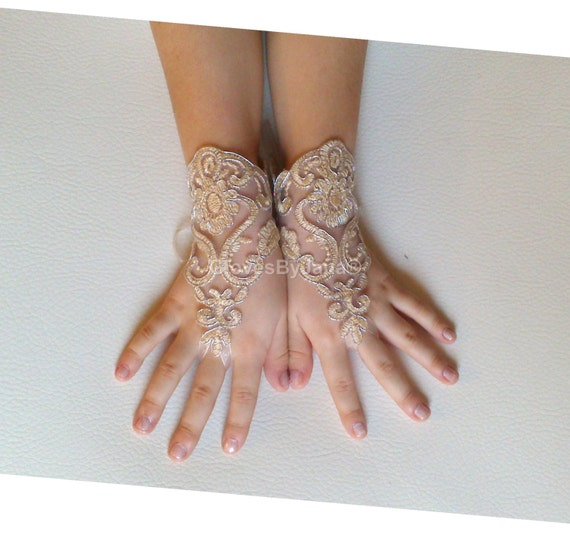 Flower girl cappuccino silver frame lace gloves wedding bridal gloves french lace for princess wedding gloves lace