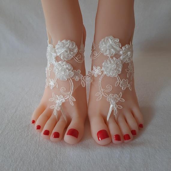 3D flower, ivory Beach wedding barefoot sandals, Ivory Barefoot, shoe beach, bridal accessories, prom, party show, boho, bohemian, wedding